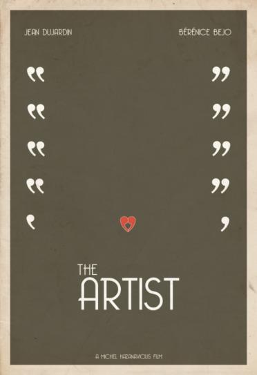 The Artist movie poster, movie poster, minimalist movie poster, The Artist poster, 2012 Best Picture nominees, Hunter Langston, Jean Dujardin, Bérénice Bejo,