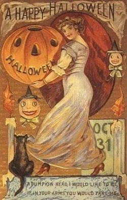 vintage-halloween-pumpkin-woman-black-cat